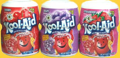 Kool Aid sugar-sweetened soft fruit drink mix